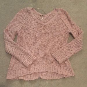Free people light pink slightly  v neck sweater